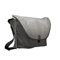 Cute owl in black and white, mandala design messenger bag