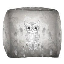 Cute owl in black and white, mandala design pouf