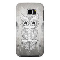 Cute owl in black and white, mandala design samsung galaxy s6 case