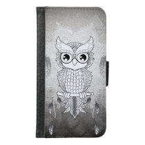 Cute owl in black and white, mandala design samsung galaxy s6 wallet case