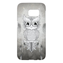 Cute owl in black and white, mandala design samsung galaxy s7 case