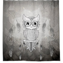 Cute owl in black and white, mandala design shower curtain