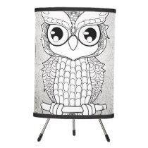 Cute owl in black and white, mandala design tripod lamp