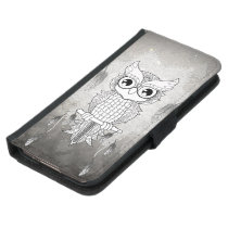 Cute owl in black and white, mandala design wallet phone case for samsung galaxy s5