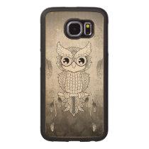 Cute owl in black and white, mandala design wood phone case