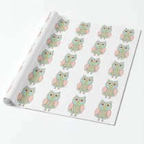 Cute Owl in Pink and Blue Wrapping Paper