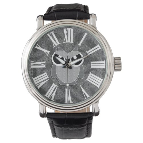 Cute Owl in Shades of Gray with Roman Numerals Watch