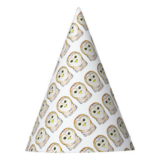 Cute Owl Ink Drawing Party Hat