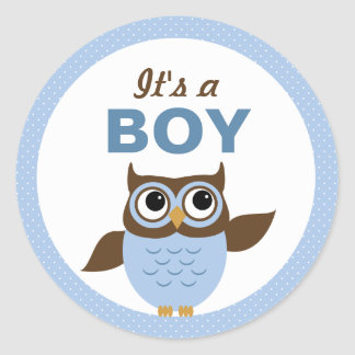Cute Owl It's a boy Stickers Round Stickers
