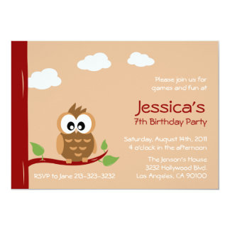 Cute Owl Kids Birthday Party 5x7 Paper Invitation Card