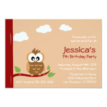 Cute Owl Kids Birthday Party Card
