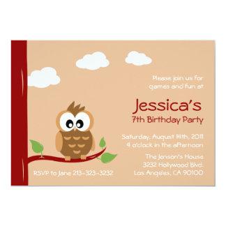 "Cute Owl Kids Birthday Party Invitation 5"" X 7"" Invitation Card"