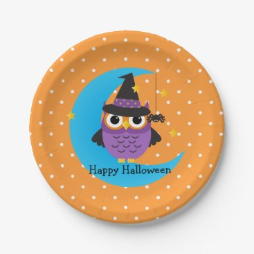 awhimsicalworld Cute Owl Kids Halloween Party Paper Plates