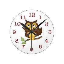 Cute Owl Kid's Wall-clock Round Clock
