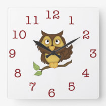 Cute Owl Kid's wall-clock/Square Square Wall Clock