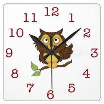 Cute Owl Kid's wall-clock/Square Square Wall Clock