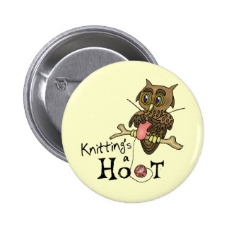 Cute Owl Knitting Button