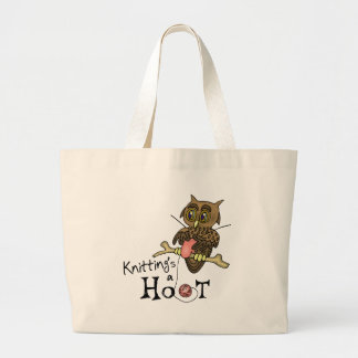 Cute Owl Knitting Large Tote Bag