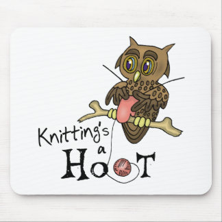Cute Owl Knitting Mouse Pad