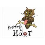 Cute Owl Knitting Postcard