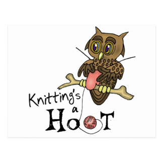 Cute Owl Knitting Post Cards