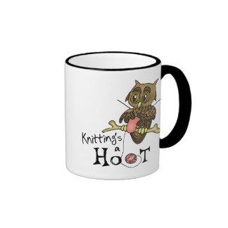 Cute Owl Knitting Ringer Coffee Mug