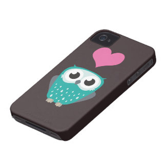 Cute Owl & Love Heart iPhone 4 Case-Mate Cases