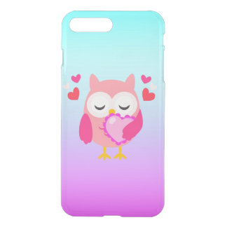 Cute Owl Love Heart Pink Purple Turquoise Ombre iPhone 7 Plus Case