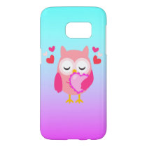Cute Owl Love Heart Pink Purple Turquoise Ombre Samsung Galaxy S7 Case