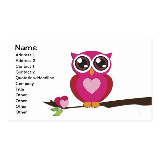 Cute Owl Love Hearts Business Card Templates