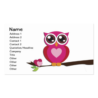 Cute Owl Love Hearts Girly Retro Business Card