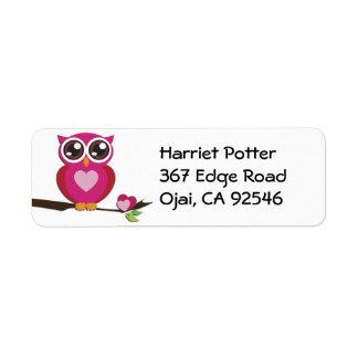Cute Owl Love Hearts Girly Retro Label