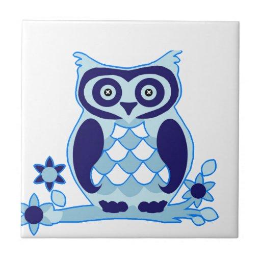 cute owl love peace tile