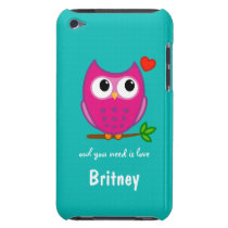 Cute Owl Love Personalized iPod Touch Case