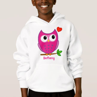 Cute Owl Love Personalized Kids Hooded Sweatshirt