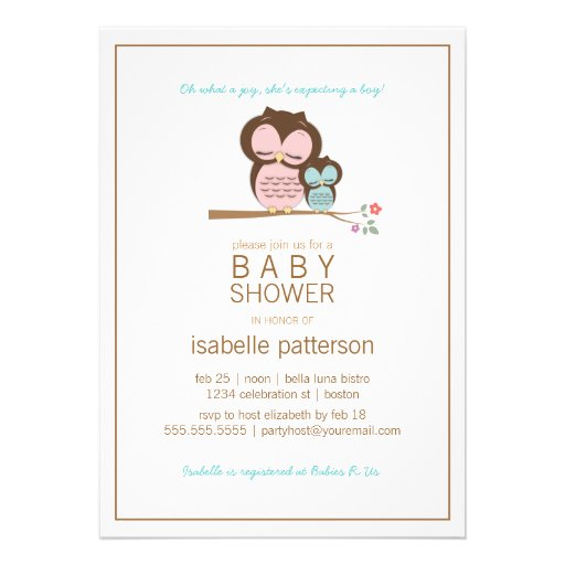 Cute Owl & Mama It's a Boy Baby Shower Invitation
