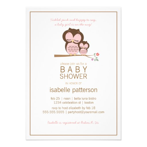 Cute Owl & Mama It's a Girl Baby Shower Invitation