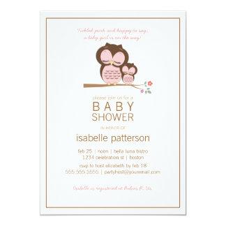 "Cute Owl & Mama It's a Girl Baby Shower Invitation 5"" X 7"" Invitation Card"