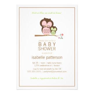 Cute Owl & Mama Neutral Baby Shower Invitation