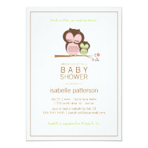 Cute Owl & Mama Neutral Baby Shower Invitation
