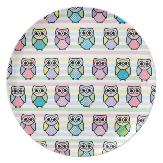 Cute Owl Melamine Plate