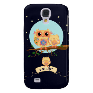 Cute Owl Mom with Baby & custom name Galaxy S4 Cover