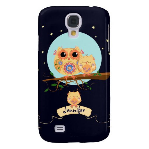 Cute Owl Mom with Baby & custom name Galaxy S4 Cases