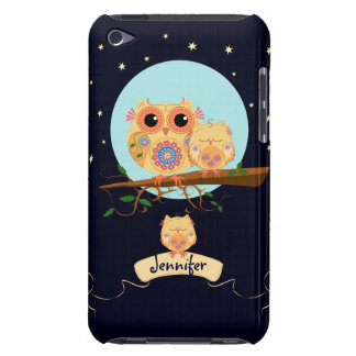 Cute Owl Mom with Baby & custom name iPod Touch Case