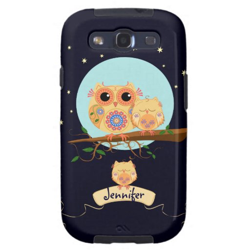 Cute Owl Mom with Baby & custom name i Samsung Galaxy S3 Cases