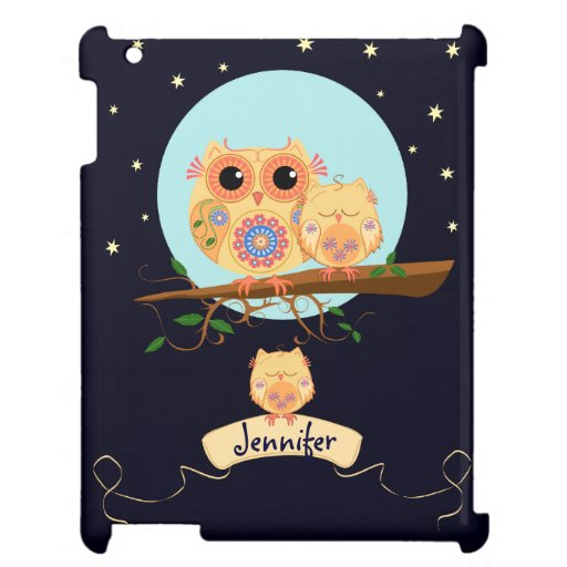 Cute Owl Mom with Baby & custom name Cover For The iPad 2 3 4