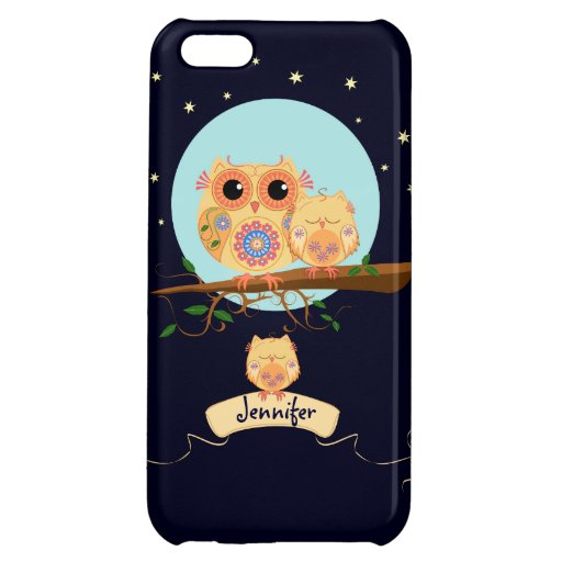 Cute Owl Mom with Baby & custom name iPhone 5C Covers