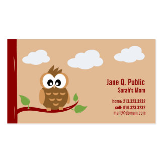 Cute Owl Mommy Calling Card Double-Sided Standard Business Cards (Pack Of 100)