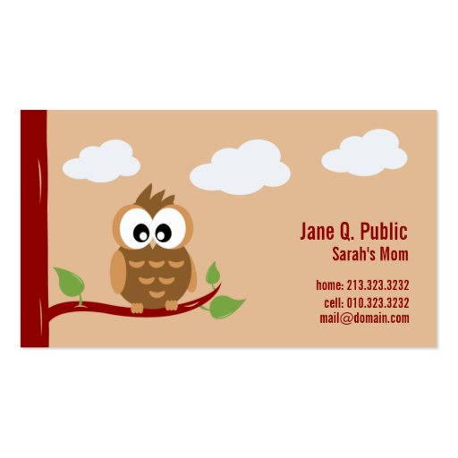 Cute Owl Mommy Calling Card Business Card Template
