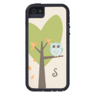 Cute Owl Monogram Tree Branch Leaves Monogrammed Cover For iPhone 5/5S